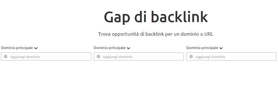 Trova opportunità di backlink per un dominio o URL