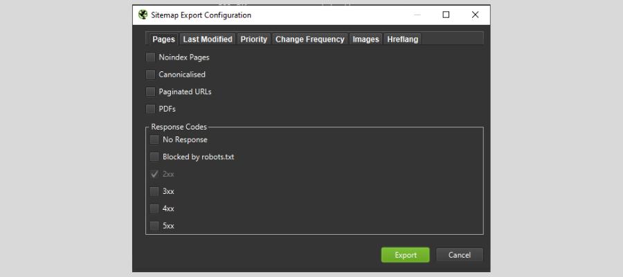 export sitemap xml