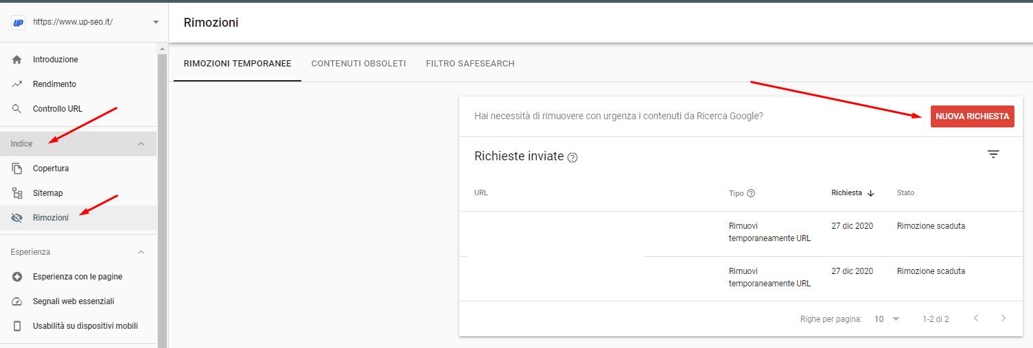Eliminare un URL dall'indice di Google usando Google Search Console