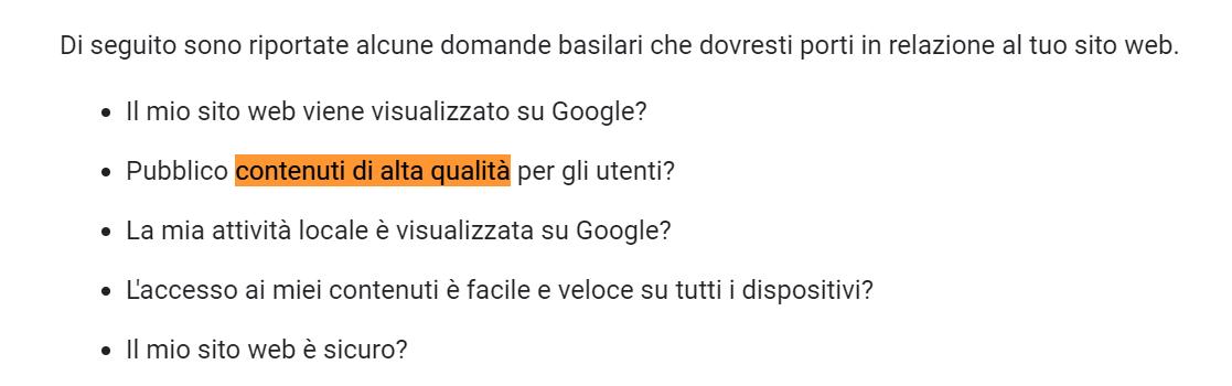 contenuti di alta qualità guida google